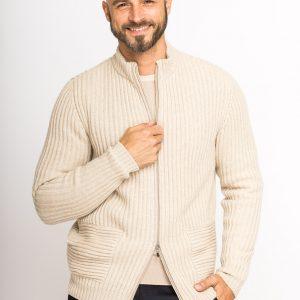 Kaschmir-Cardigan mit Reißverschluss und gesetzten Hüfttaschen